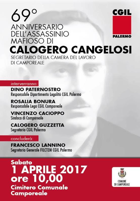 Calogero Cangelosi: Il 1° Aprile Il 69° Anniversario Della Sua Uccisione. Cerimonia A Camporeale