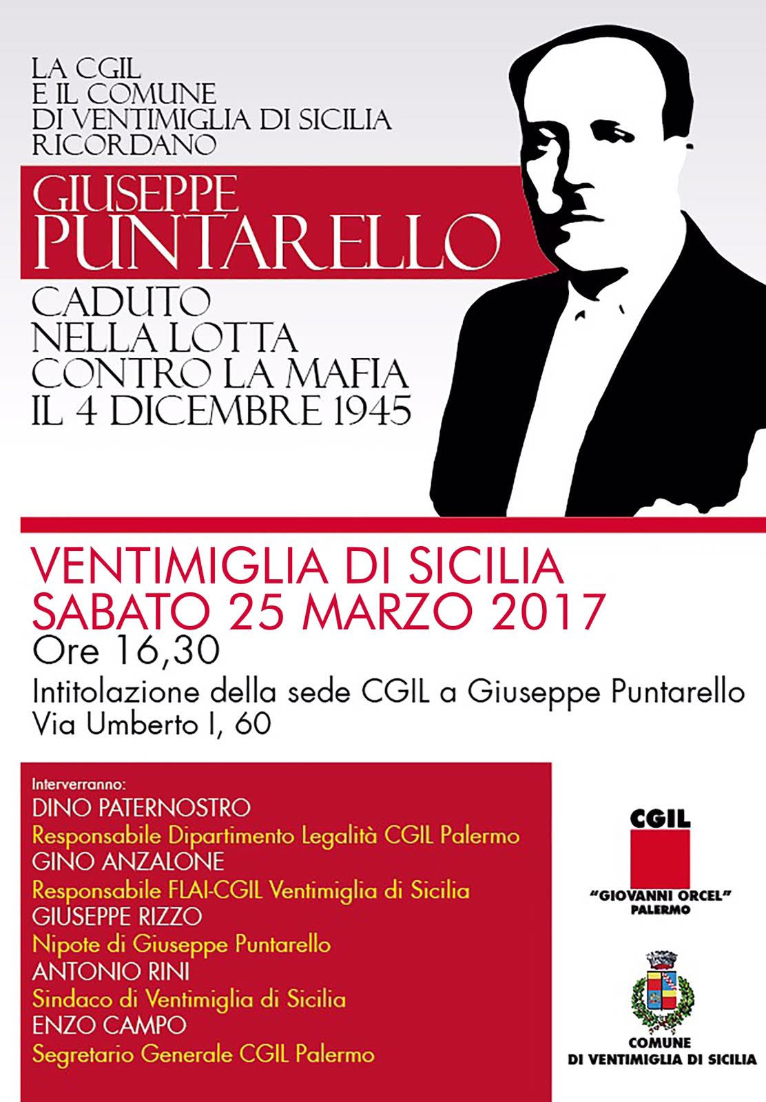 Puntarello, Domani A Ventimiglia Il Ricordo Del Dirigente Cgil Ucciso Dalla Mafia Il 4 Dicembre 1945