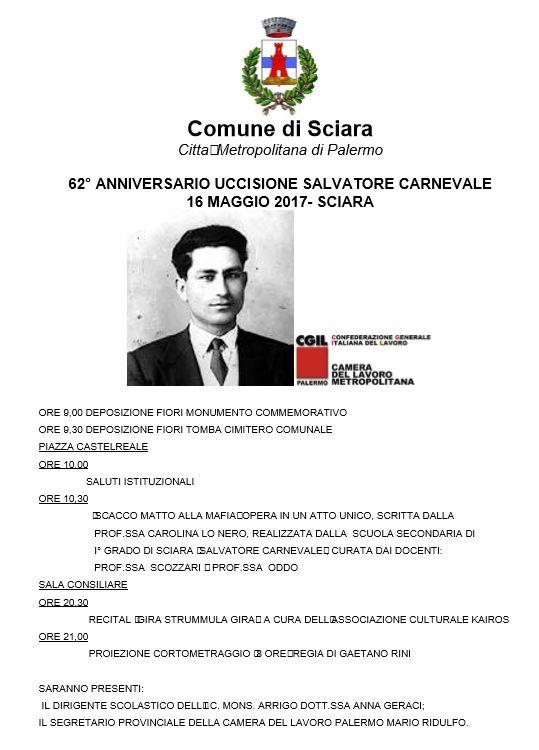 Salvatore Carnevale, Domani A Sciara Le Iniziative Per Il 62° Anniversario Della Sua Uccisione