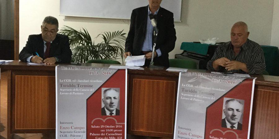44° anniversario: Cgil, Ricordato oggi Salvatore Termine, storico segretario della Camera del Lavoro di Partinico
